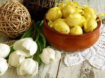 Free Easter Eggs And Tulips On Old Wooden Stock Photo - 13381860