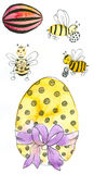 Easter Eggs anfd Honey Bees. Watercolor painting and ink drawing, created and painted by the photographer Royalty Free Stock Images