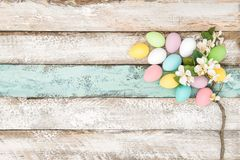Easter eggs apple blossom decoration Royalty Free Stock Photos