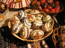 Easter eggs arrangement. Art and tradition of painted eggs from Romania Stock Photography