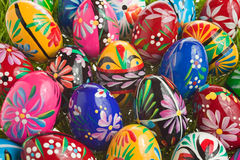 Easter Eggs arrangement. Colorful wooden Easter eggs arrangement Royalty Free Stock Photography
