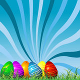 Easter eggs background. Easter eggs on grass over starry sky background Royalty Free Stock Photos