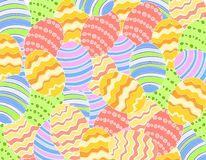 Easter Eggs Background. A background pattern featuring a variety of colourful decorated Easter eggs Stock Images