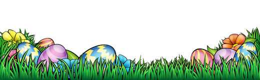 Easter Eggs Background. An Easter egg hunt Background border frame or footer graphic Stock Images