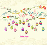 Easter eggs background with flowers Royalty Free Stock Images