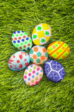 Easter eggs background on grass Royalty Free Stock Photos