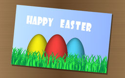 Happy Easter. Background with easter eggs greeting card on the table Stock Images