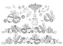 Easter eggs background, Sketch collection Royalty Free Stock Image