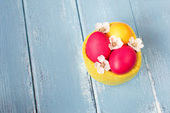 Easter eggs in bag Stock Photography