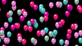 Easter eggs balloons seamless loop video with alpha matte stock footage