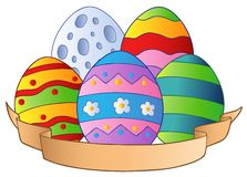 Easter eggs with banner Stock Photos