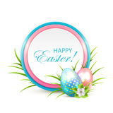Easter eggs with banner and flower Stock Photography