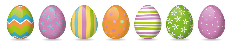 Easter eggs banner. Banner with seven pastel colored glossy painted easter eggs with different patterns Stock Image