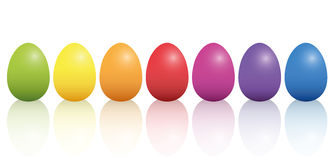 Easter Eggs Basic Colors Reflection Stock Image