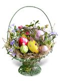 Easter eggs in the basket. Easter basket with colored eggs Royalty Free Stock Images