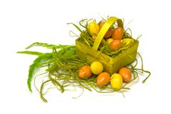 Easter eggs and basket Royalty Free Stock Image