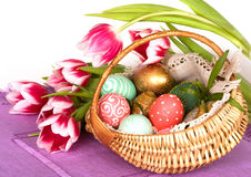 Free Easter Eggs Basket Stock Photography - 13357282