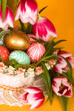 Easter eggs Basket Stock Photos