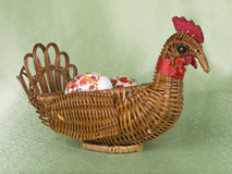 Easter eggs are in a  basket Stock Photo