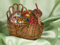 Easter eggs are in a  basket Stock Photography
