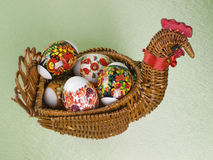 Easter eggs are in a  basket Stock Photos