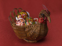 Easter eggs are in a  basket Royalty Free Stock Images