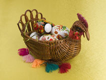 Easter eggs are in a  basket Royalty Free Stock Photography