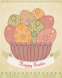 Easter eggs basket. Vector illustration Royalty Free Stock Photo