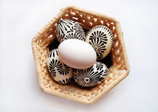 Easter eggs on basket Royalty Free Stock Image