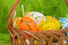 Easter eggs on basket Stock Photo