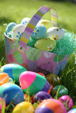 Easter Eggs and Basket Royalty Free Stock Photo