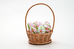 Easter eggs in a basket. As Easter theme Stock Photo