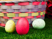 Easter Eggs and Basket Stock Photo