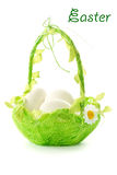 Easter eggs in the basket Royalty Free Stock Photography