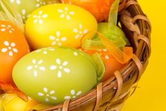 Easter eggs in a basket. On an yellow  background Stock Images