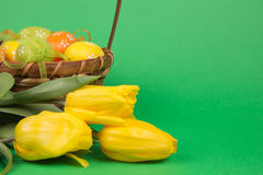Easter eggs in a basket Royalty Free Stock Photography