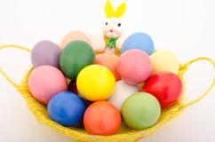 Easter eggs in a basket. Easter eggs in a bunny basket Royalty Free Stock Photo