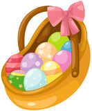 Easter eggs in basket. Illustration of isolated easter eggs in basket on white Royalty Free Stock Photo