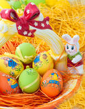 Easter eggs on a basket Royalty Free Stock Photos