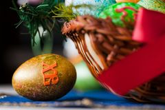 Easter eggs basket Royalty Free Stock Image