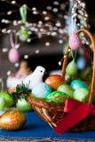 Easter eggs basket Stock Photos