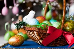 Easter eggs basket Stock Photo