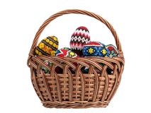 Easter eggs in a basket. A series of photographs of Easter stock photo