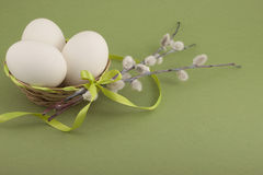 Easter eggs . Easter eggs in a basket Stock Photo