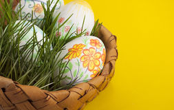 Easter eggs . Easter eggs in a basket Stock Photography