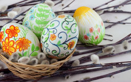 Easter eggs . Easter eggs in a basket Royalty Free Stock Photos