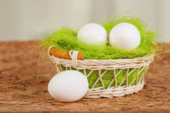 Easter eggs. In a basket Stock Photography