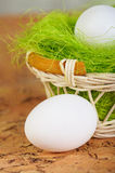 Easter eggs. In a basket Stock Photo