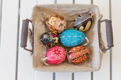 Easter eggs. In a basket Royalty Free Stock Photos