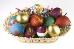 Easter eggs basket Stock Image